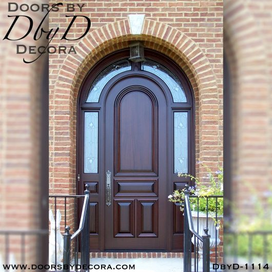 leaded glass wood radius door