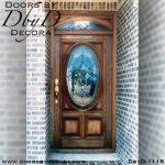 leaded glass oval front door