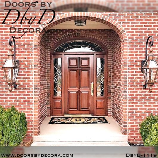 leaded glass wood door and glass