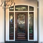 leaded glass wood and glass front door