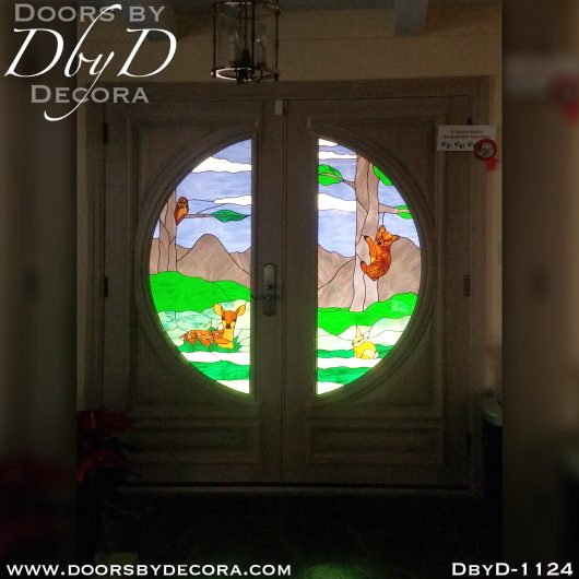 leaded glass1124a - leaded glass nature scene glass door - Doors by Decora