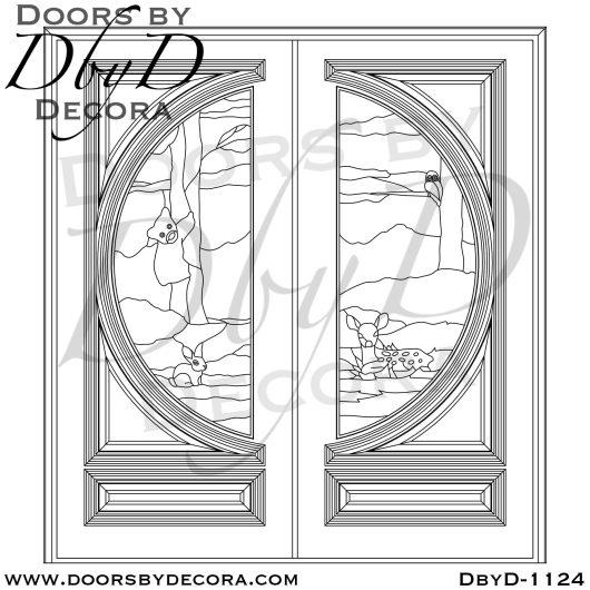 leaded glass nature scene glass door