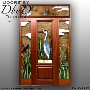 leaded glass blue heron door