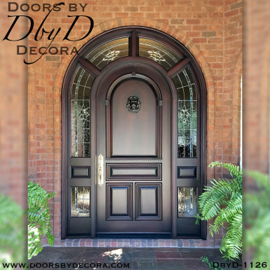 leaded glass and wood entry
