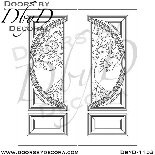 leaded glass tree doors