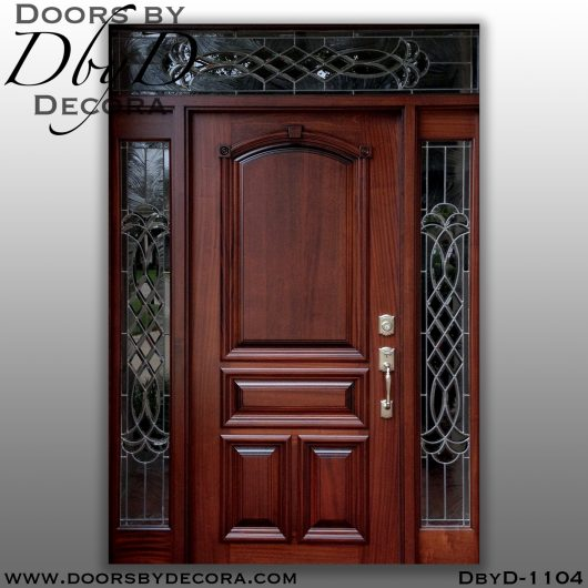 solid door wood and glass entry