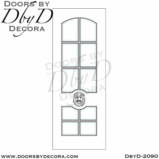 french country lion head glass door