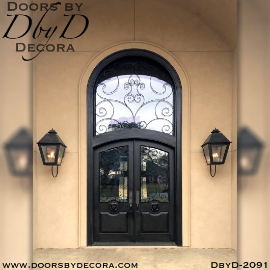 dbyd2091a - french country lion head entry doors - Doors by Decora