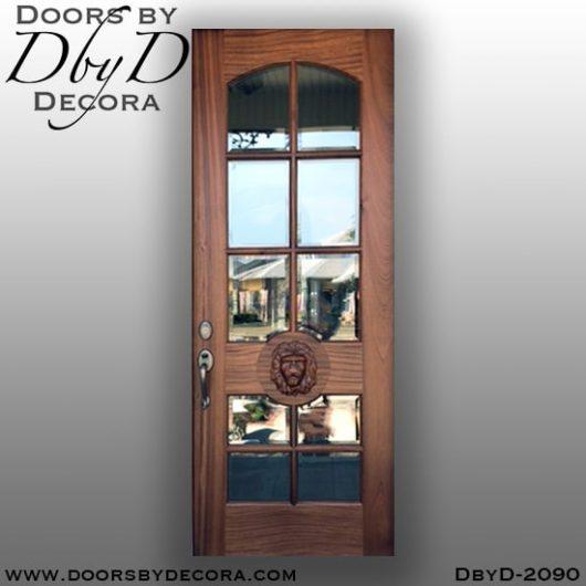 divided lite lion head glass door