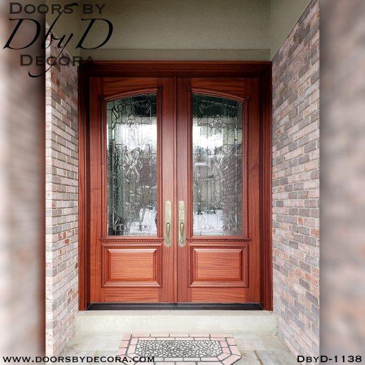 leaded glass double front doors