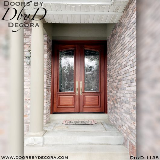leaded glass1138a - leaded glass double front doors - Doors by Decora