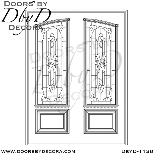 leaded glass1138d - leaded glass double front doors - Doors by Decora