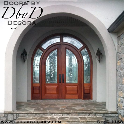 leaded glass large exterior entry