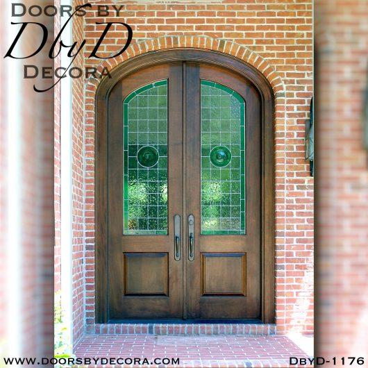leaded glass elliptical doors