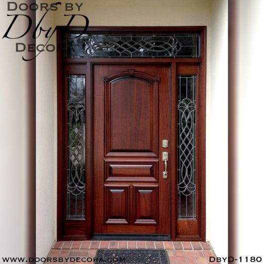 leaded glass mahogany front door