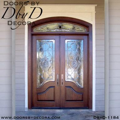 leaded glass beveled pineapple doors