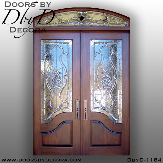 leaded glass beveled pineapple doors