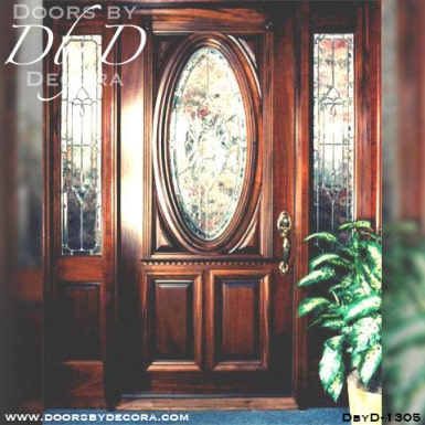 leaded glass oval glass door