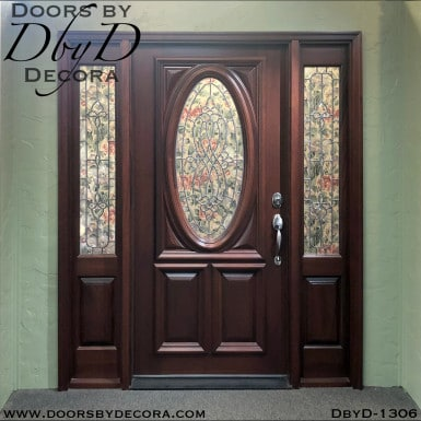 leaded glass oval custom door