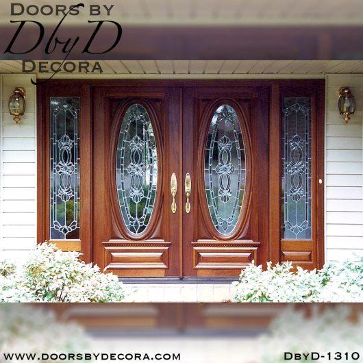 leaded glass double oval doors