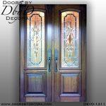leaded glass wood doors