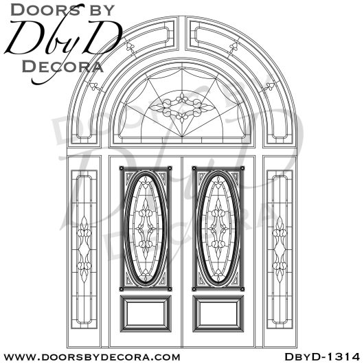 leaded glass extra large entry door