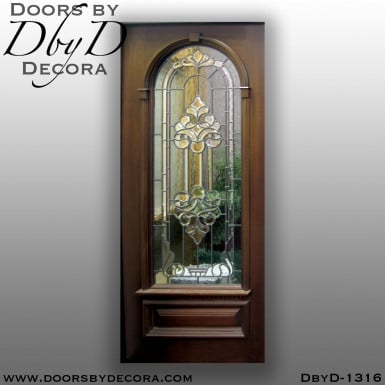leaded glass mahogany door