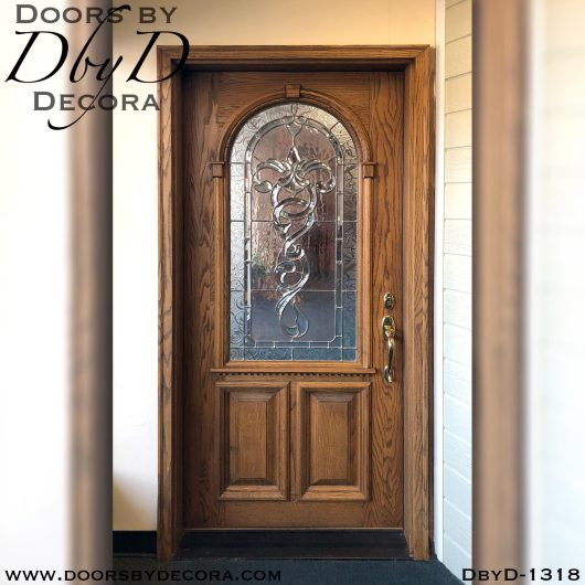 leaded glass oak front entry door