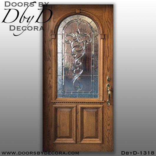 leaded glass1318a - leaded glass oak front entry door - Doors by Decora
