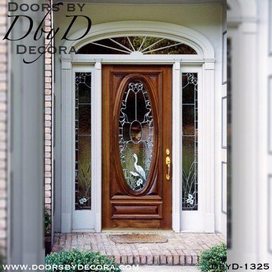 leaded glass egret door