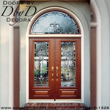 leaded glass double doors front entry
