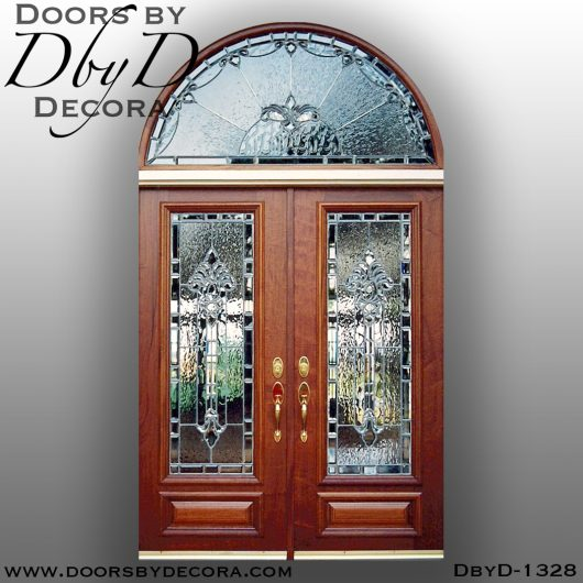 leaded glass1328a - leaded glass double doors front entry - Doors by Decora