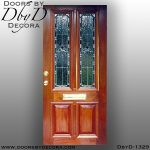 leaded glass mahogany door with mail slot
