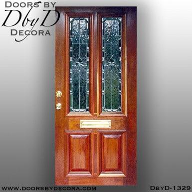leaded glass mahogany door with mail slot