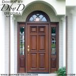 leaded glass and wood front door