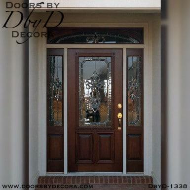 leaded glass mahogany entrance