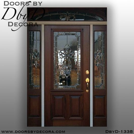 leaded glass1338a - leaded glass mahogany entrance - Doors by Decora