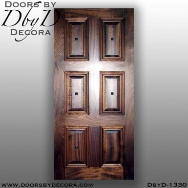 solid door six panel wooden door