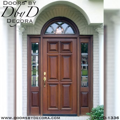 solid door leaded glass and wood entry