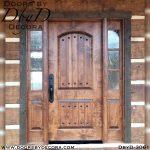 divided lite door and rustic sidelites