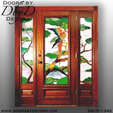leaded glass tropical bird door