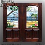 leaded glass beach scene doors