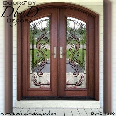 leaded glass mahogany doors
