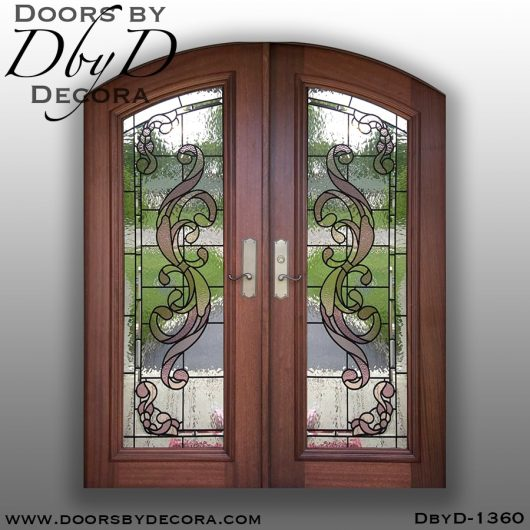 leaded glass1360a - leaded glass mahogany doors - Doors by Decora