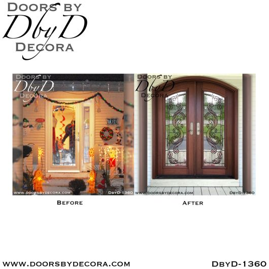 leaded glass1360b - leaded glass mahogany doors - Doors by Decora