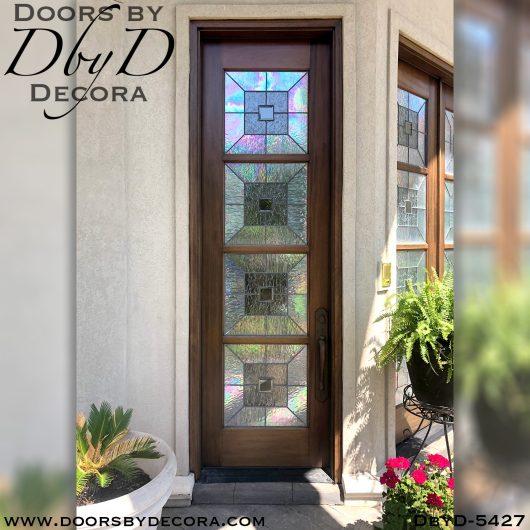 leaded glass single entry door