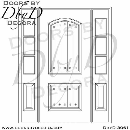 solid door and rustic sidelites