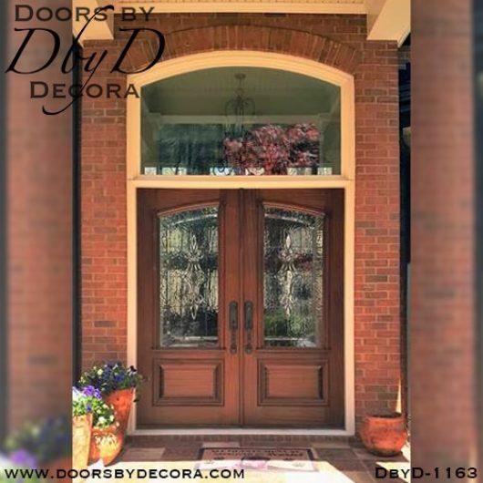 leaded glass wood front doors
