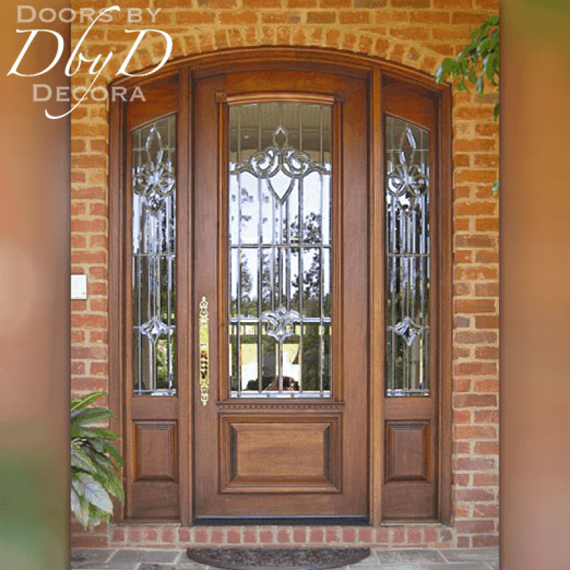 Beautiful leaded beveled glass can be found in this door and two side lites.