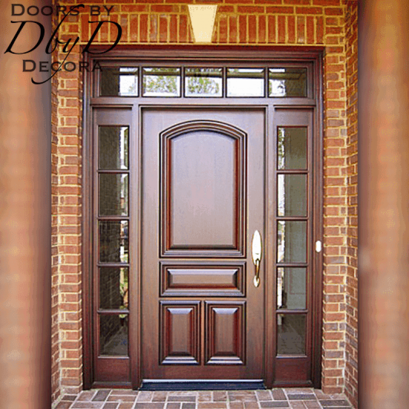 Solid door with true divided lite side lites and transom.